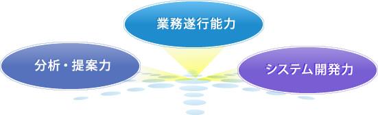 業務遂行力、分析・提案力、システム開発力